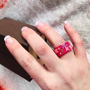 LOUIS VUTTON Jeweled Monogram Pink Ring
